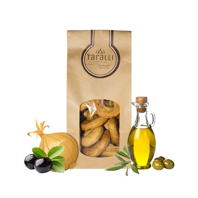 Taralli Calzone Geschmack Zwiebel und Oliven