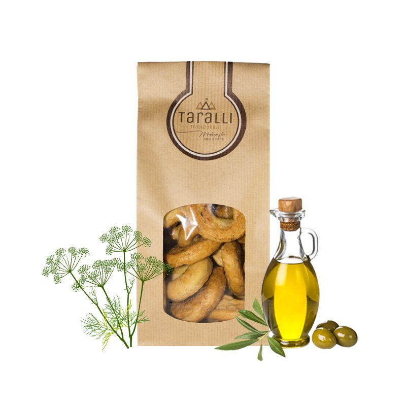 Traditional Taralli with fennel seeds